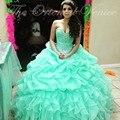 Mint verde Quinceanera Vestidos para a menina doce 16 Vestidos de baile querida cristal princesa Vestidos de 15 años Debutante vestido