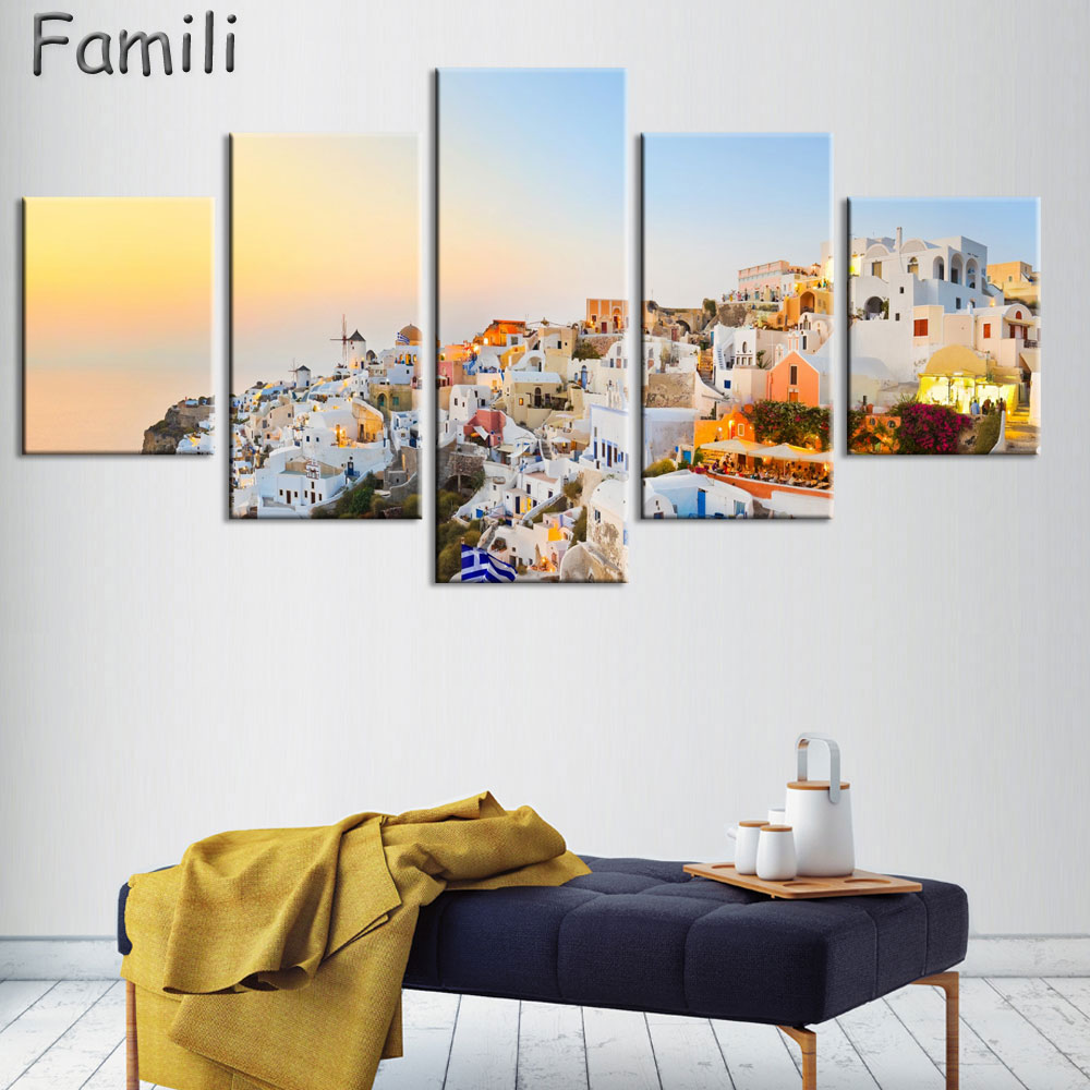 5 Piece Hot Sell Modern Wall Painting Art Picture Paint on Canvas Prints The classic beauty of the Greek island of Santorini image