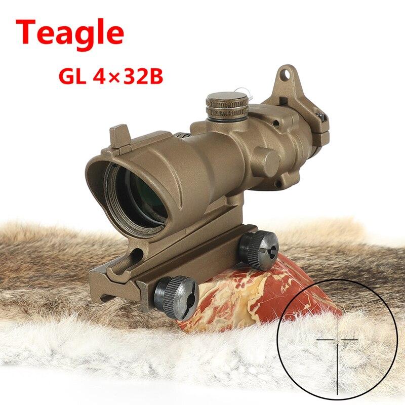 T-eagle Trijicon ACOG 4x32 lunette de chasse pour pistolet M416 réticule avec 11 MM/20 MM montures lunette de chasse optique