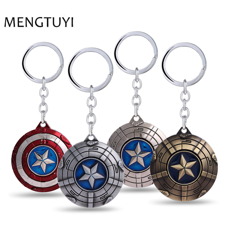 J store Movie Captain America KeyChain Star Shield Bronze Red Silver car Key ring Key Chain for Fans porte clef llaveros lx 4846 universal key ignition ring decorative sticker for car silver