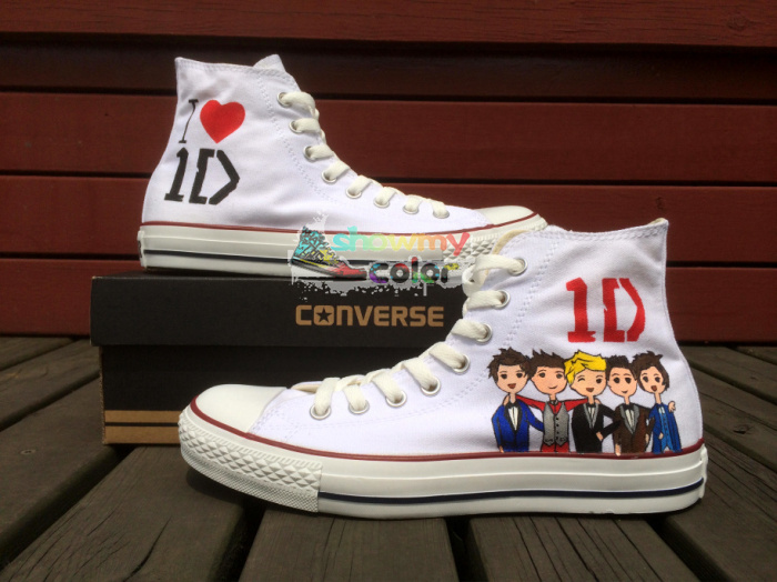 1D Converse Chuck Taylor Women Men Shoes One Direction Design Hand Painted High Top White Canvas Sneakers Christmas Gifts цена