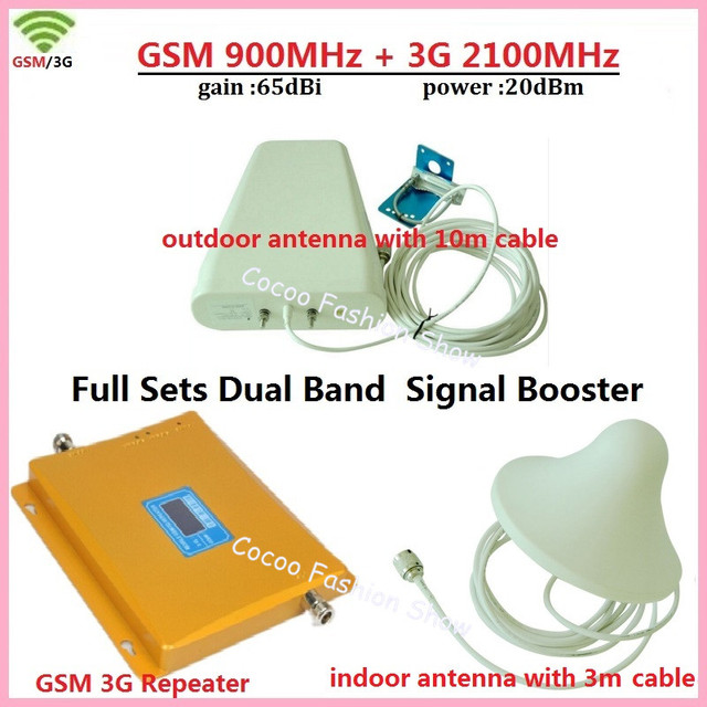 Full Set LCD Display Dual Band GSM 900MHz UMTS 2100MHz 3G WCDMA Cell Phone Signal Booster EDGE HSPA Signal Amplifier Repeater
