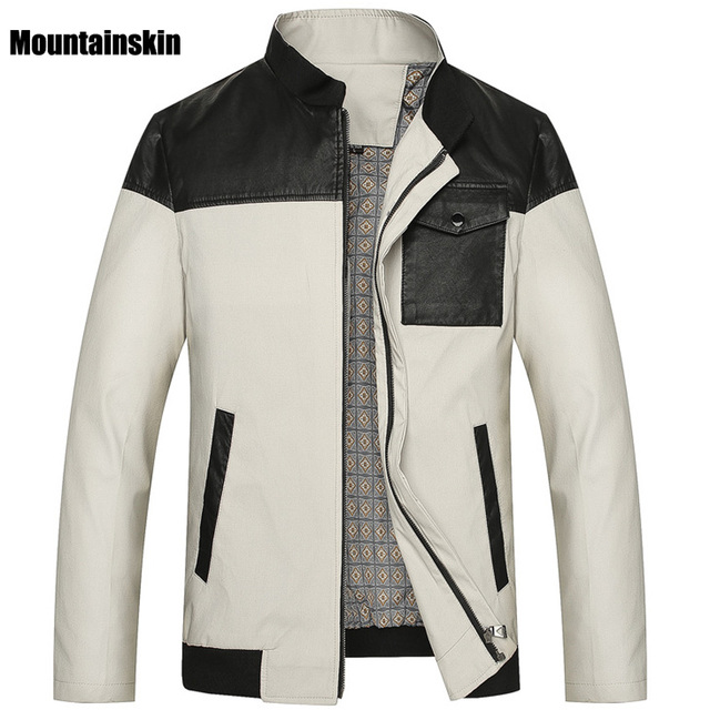 Mountainskin 7XL Spring New Men's PU Patchwork Jackets Loose Men's Coats Casual Solid Male Outwear Fashion Brand Clothing,SA162