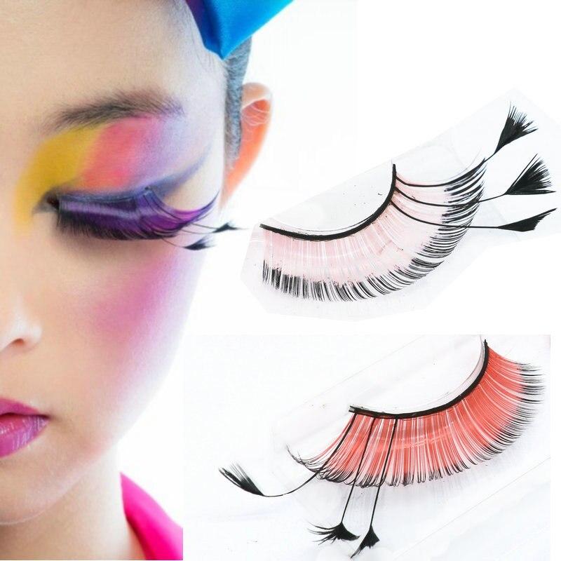 YOKPN Colorful Peacock Feather False Eyelashes Pink Red Stage Exaggerated Art Eyelash Eye Tail Elongated Fake Eye Lashes Makeup
