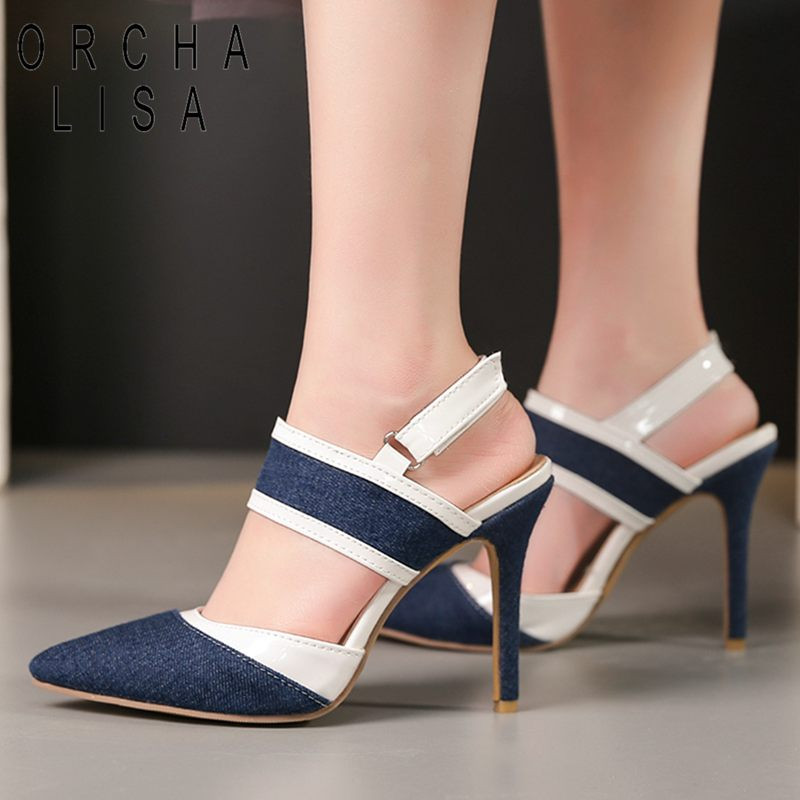be805d4740c ORCHA LISA Party Sexy jeans High heels Ladies sandals stiletto Thin heel  Pointed toe Denim Black