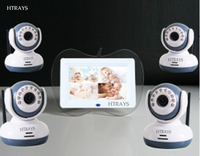 HTRAYS Top Quality 2.4Ghz Digital Wireless 7Baby Monitor DVR,4 Channels Recording/Motion Detection function 4cameras+1monitor