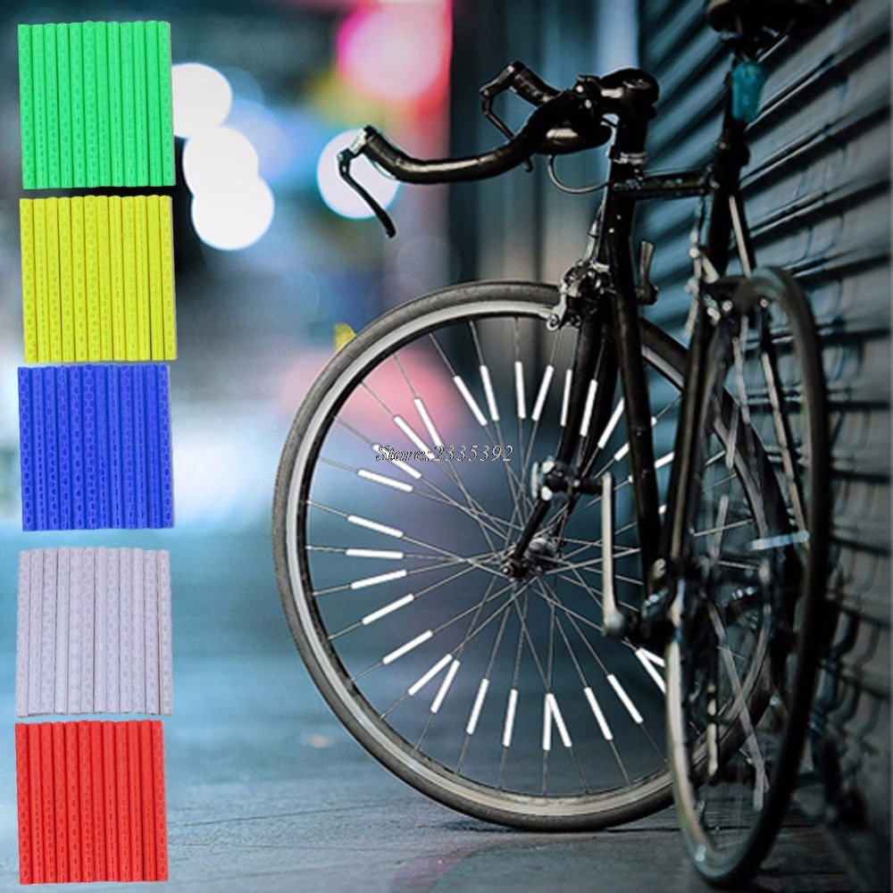 12PCS Reflector Bicycle Wheel Rim Spoke Bike Mount Warning Light Strip Tube Bicycle Accessories black 7 spoke plastic wheel rim