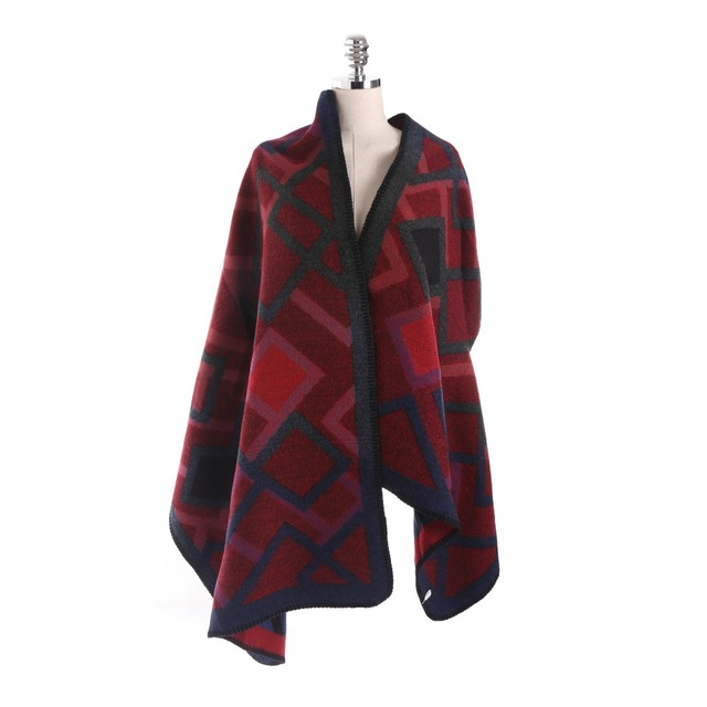 Red Plaid Shawls Long Scarf Wraps Cashmere Scarf Women Shawl Ponchos and Capes Winter Poncho Blanket Clock