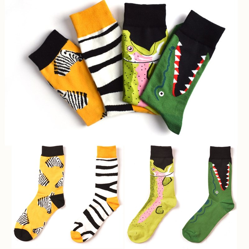7 Colors Women Happy   Socks   High Quality Combed Cotton Flamingo/Crocodile/Zebra Animals Funny Casual   Sock   1 Pairs