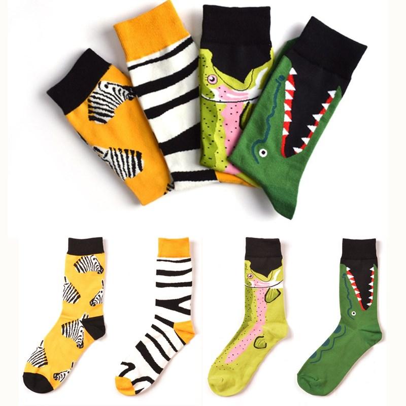 7 Colors Men Happy Socks High Quality Combed Cotton Flamingo/Crocodile/Zebra Animals Funny Casual Sock 1 Pairs