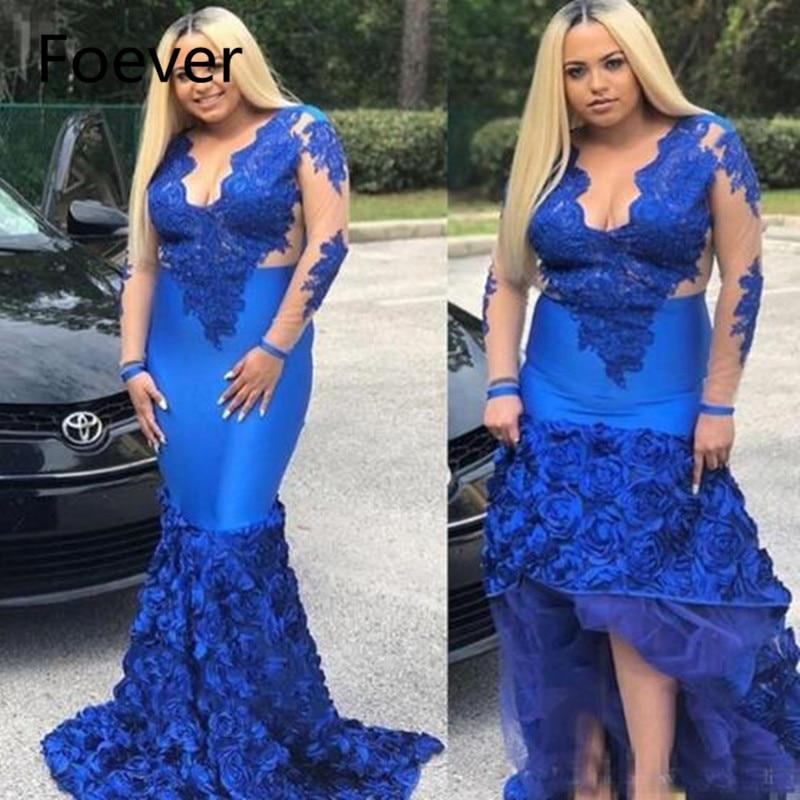 US $170.99 5% OFF Royal Blue African Mermaid Evening Dresses Plus Size 2019  Sukienka Wieczorowa Lace Flowers Formal Women Prom Dress Long Sleeve-in ...