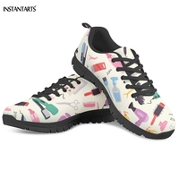 INSTANTARTS Women's Running Shoes Hairdressing Equipment/Hair Stylist Pattern Lace Up Sneakers Outdoor Breath Ladies Sport Shoes