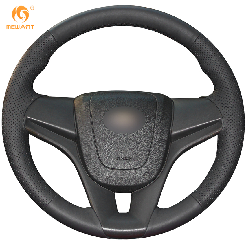 MEWANT Black Genuine Leather Car Steering Wheel Cover for Chevrolet Cruze 2009-2014 Aveo 2011-2014 Holden Cruze 2010 Ravon R4 защита картера штамповка 2 мм chevrolet aveo t250 2008 2011 all