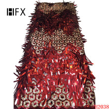 Latest Style Heavy 3d sequins Lace Fabric 2019 Fashion African Tulle French High Quality F2038