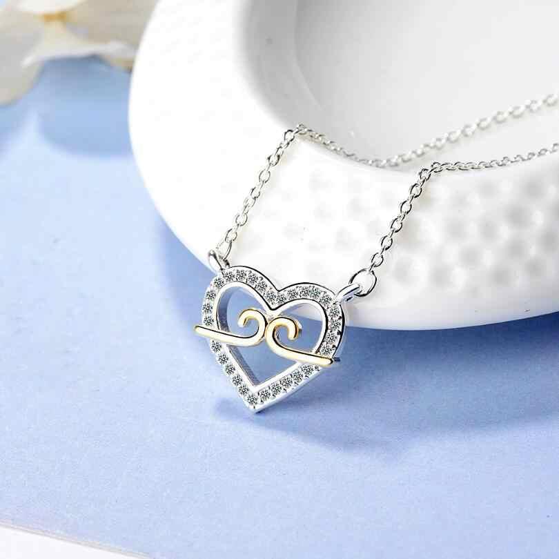 Neue Zwangsjacke Herz zirkon Anhänger Halsketten Für Frauen Kurzen Schlüsselbein Kette Choker 925 Sterling Silber Schmuck SAN52