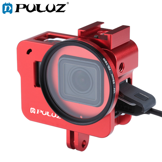 PULUZ שיכון מעטפת עבור GoPro גיבור 7 שחור 6/5 קשה מגן כלוב + 52mm UV עדשת 8*6*4.6cm דרכי פרו Hero5 2018