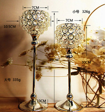 Free shiping metal silver plated candle holder with crystals. wedding candelabra/centerpiece decoration,1 set=2 pcs candlestick
