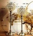 Livre shiping prata banhado suporte de vela do metal com cristais. candelabros de casamento/decoração da peça central, 1 conjunto = 2 pcs castiçal