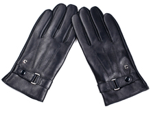 man's winter fashion back three lines classic belt real leather black gloves