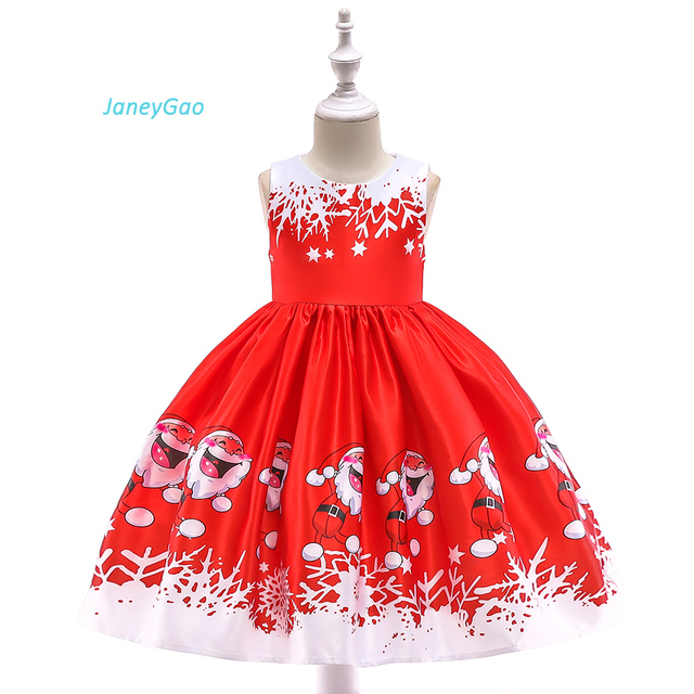 4a462d6cde61b JaneyGao Flower Girl Dresses Little Girl Christmas Dresses Red And White  Color Cute Print Pattern Special Price On Sale