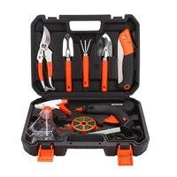 9pcs Garden Tool Set Shovel Rake Multifunctiona Kit Gardening Tools Bonsai Toolbox Stainless Steel Silver Portable Prune