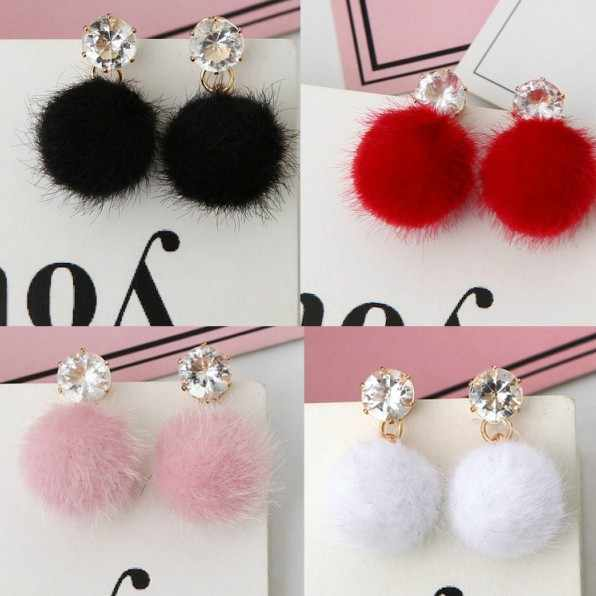 Hot Sale New Fashion 5 Color Pom Ball Drop Earrings Bohemian Rhinestone Crystal Plush Dangle Earrings For Women Drops Earrings