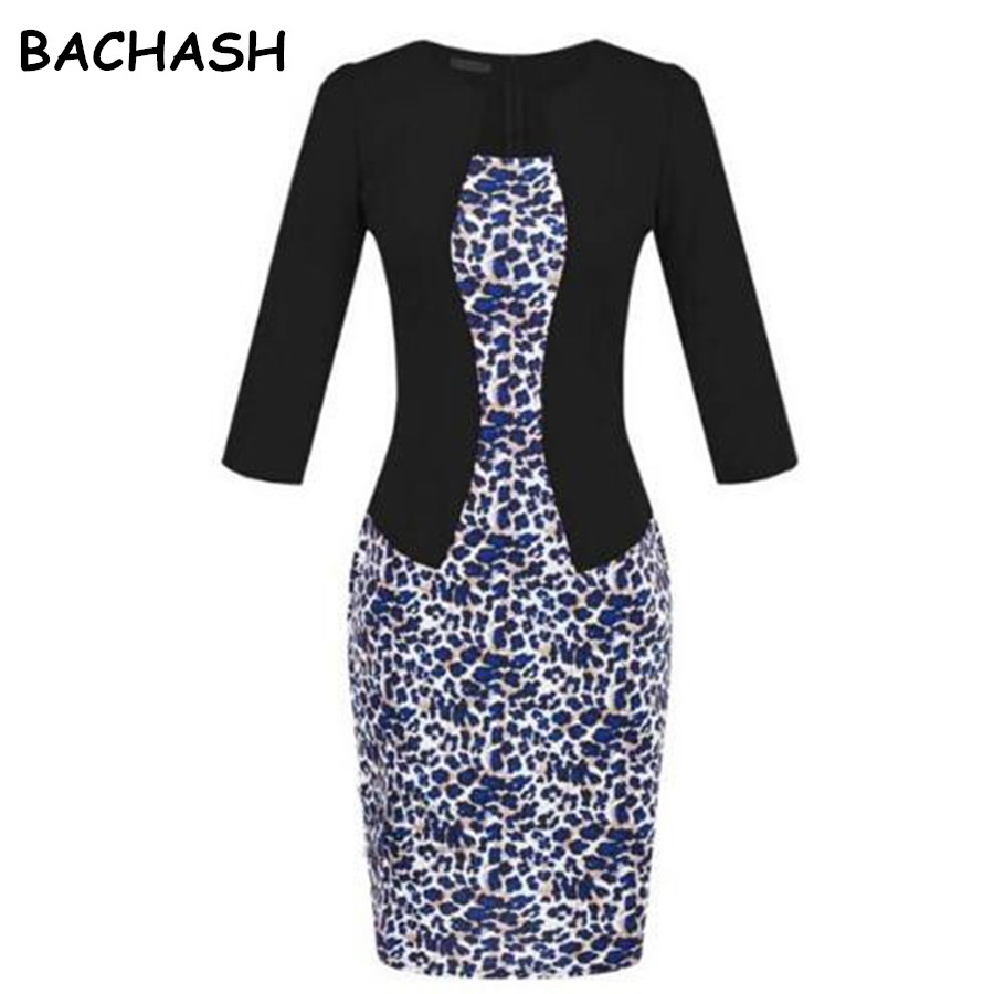 Bachash Apparel Store BACHASH Vestidos Women Elegant Faux Jacket One-Piece Belted Tartan Leopard Patchwork Wear To Work Business Pencil Sheath Dress