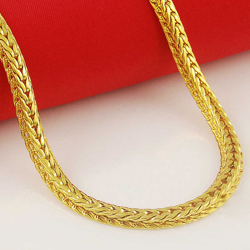 High Quality 24K Gold Color Plated Necklaces Gold Color Chain Men Necklaces Jewelry Wholesale