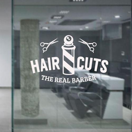 Wall Decal Hair Salon Beauty Barber Cuts Beard Shaver Scissors Signboard
