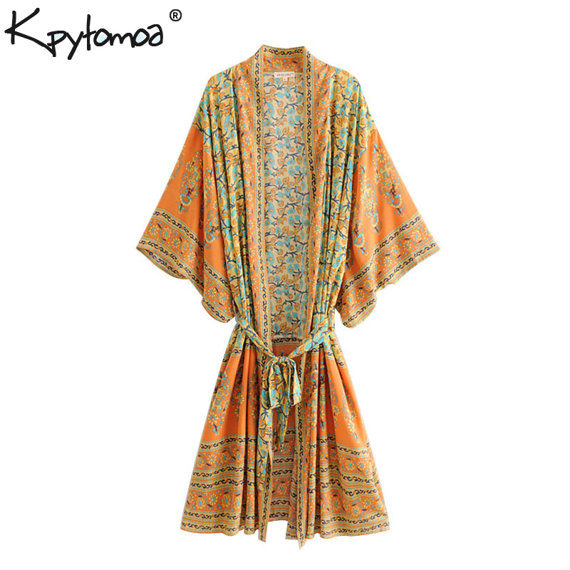 Boho Chic Summer Vintage Floral Print Sashes Kimono Women 2019 Fashion Cardigan V Neck Loose Beach   Blouses     Shirts   Femme Blusas