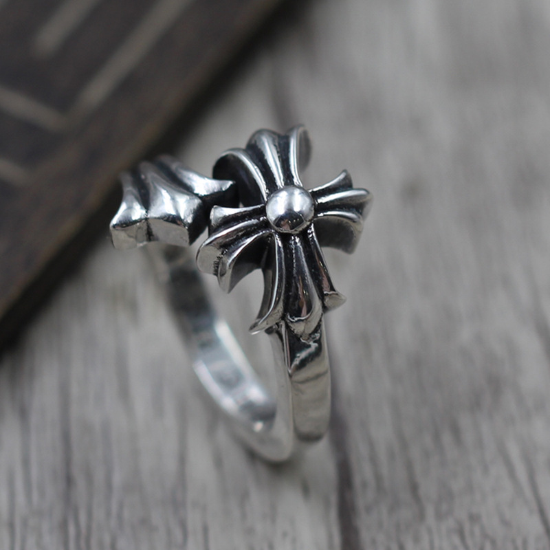 Thai Silver Jewelry Personalized Cross Hair Tail Cross Brace 925 Sterling Silver Men And Women Unique Ring