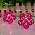Metálicos cor de rosa da flor do casamento fada luz luzes global Noel Natal iluminado iluminação decoração 10 guirlanda LEVOU AA bateria