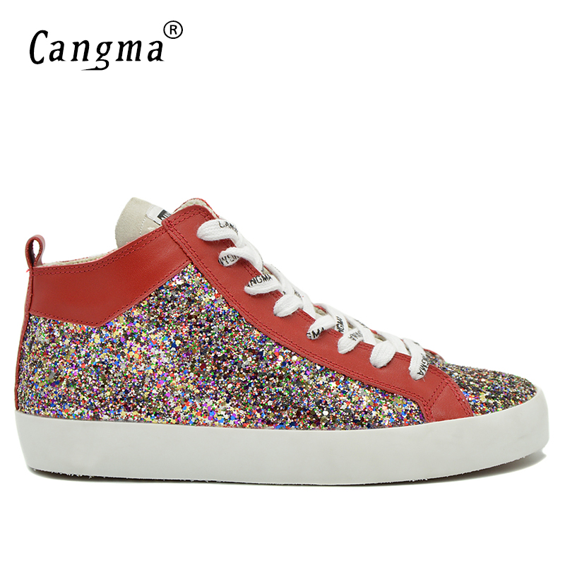 CANGMA Brand Sneakers Men Casual Shoes Mid Paillette Classic Man's Sequin Leisure Shoes Zapatos Plus Size Multi-Colored Footwear недорго, оригинальная цена