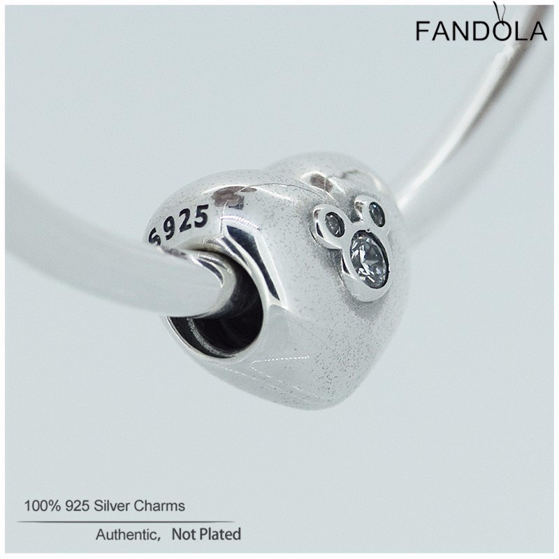 Fandola Love Charms Authentic 925 Sterling Silver Heart of Mouse Beads for Jewelry Making Fits Women DIY Jewellery Bracelets