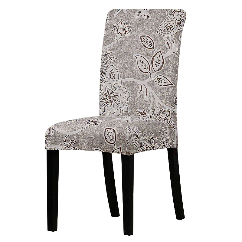 Printed grey flower chair cover Slipcovers Stretch Removable Dining seat Covers Hotel Banquet restaurant housse de chaise 03
