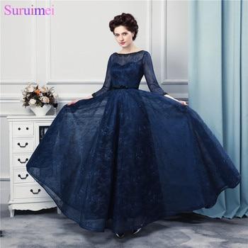Navy Blue Panjang Prom Dresses Kualitas Tinggi Lace Lantai Panjang 3/4 Panjang Sleeves Top Sheer Illussion Korset Prom Gown