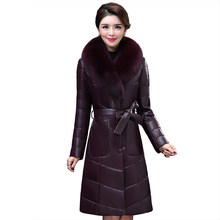 Luxury clothes Women real leather jacket ladies genuine leather down jacket NEW Sheep skin leather jacket Fox fur collar K4211(China)