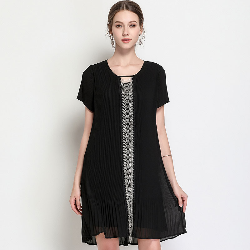 2018Summer female elegant dress chain patchwork short sleeve cultivating sexy party dress vestidos plus size tunics