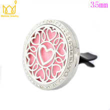 Crystal Love Heart Car Perfume Locket 35mm 316L Stainless Steel Round Shape Magnetics Amoratherapy Diffuser Lockets Free Pad