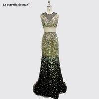 Gala jurken new O Neck crystal black 2 pieces sexy mermaid prom dresses long high quality vestido formatura custom ballkleider