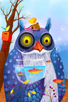 Cute owl The wooden puzzle 1000 pieces ersion jigsaw puzzle white card adult children's educational toys