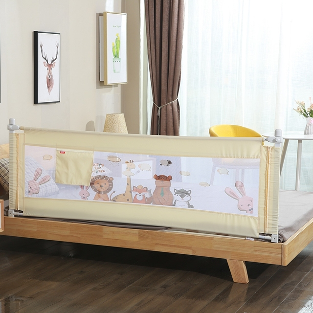 1.5M 1Pc Cartoon Newborn Baby Safety Fence Guard Adjustable Bed Rail Infant Bed Pocket Playpen Kids Baby Bed Guardrail Crib Rail
