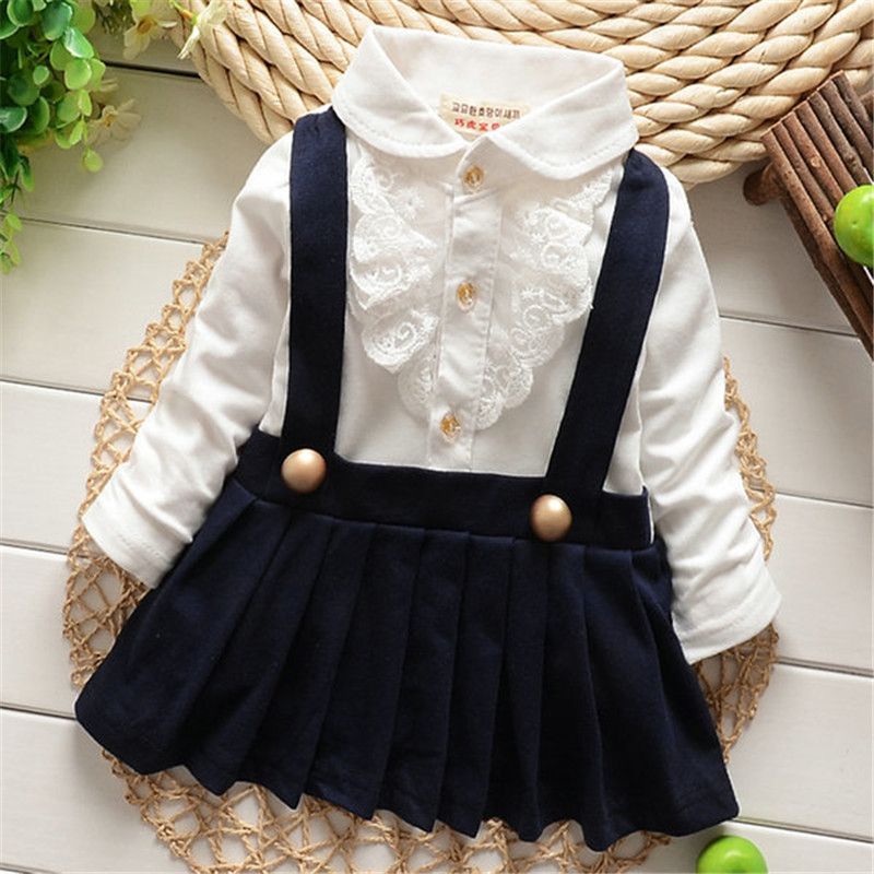 New 2017 Spring Fashion Toddler's Lapel Pleated Dress Long Sleeve Suspender Girl Warm Ruffle Dress 2017 new fashion spring