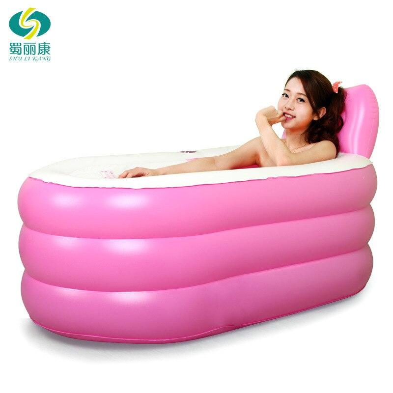 ispessito adulto vasca da bagno gonfiabile vasca termale pieghevole portatile isolamento vasca con coperto rosa blu