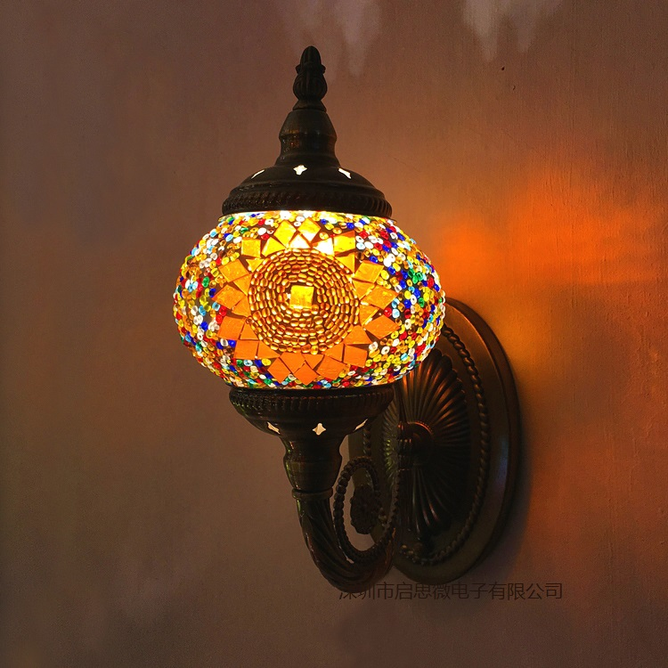New Mediterranean Style Art Deco Turkish Mosaic Wall Lamp Handcrafted Mosaic Glass Romantic Wall Light