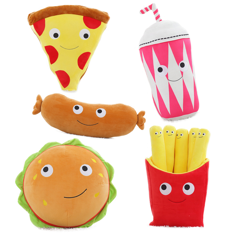 1pc Lovely Lifelike Food Plush Pillow Toys Soft Pizza Hamburger Fries Sausage Milk Tea Pillows Cushions Creative Gifts For Girls