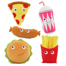 1pc Lovely Lifelike Food Plush Pillow Toys Soft Pizza Hamburger Fries Sausage Milk Tea Pillows Cushions Creative Gifts for Girls(China)