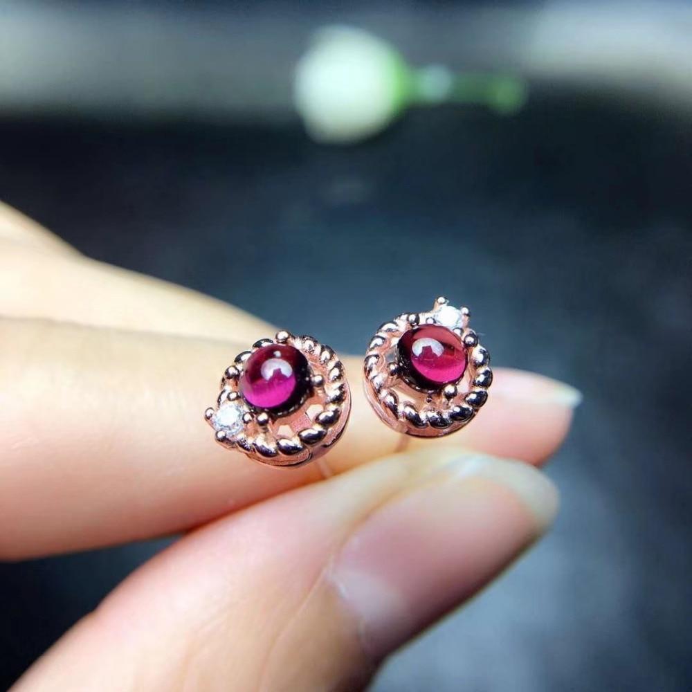natural red garnet gem Small Hemp round earrings S925 silver Natural pyrope earring women fine party office Earrings jewelry все цены