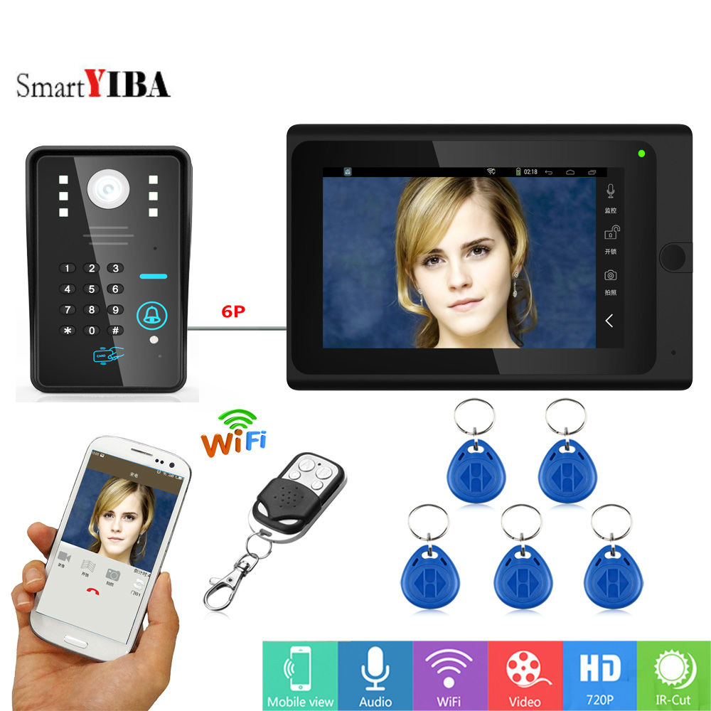 SmartYIBA 7inch Password APP Control Doorphone WiFi  Home Intercom System RFID Video Recording Doorbell Video Door Phone Kits