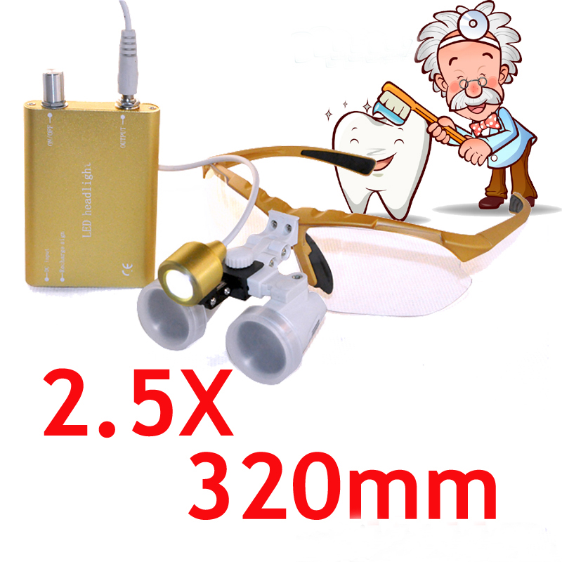 Professional Surgical magnifier 2.5X320mm Binocular Dental Loupe Optical Glass + Portable LED Head Light Lamp 5lens led light lamp loop head headband magnifier magnifying glass loupe 1 3 5x y103